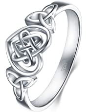 BORUO 925 Sterling Silver Ring Celtic Knot Heart High Polish Tarnish Resistant Eternity Wedding Band Stackable Ring