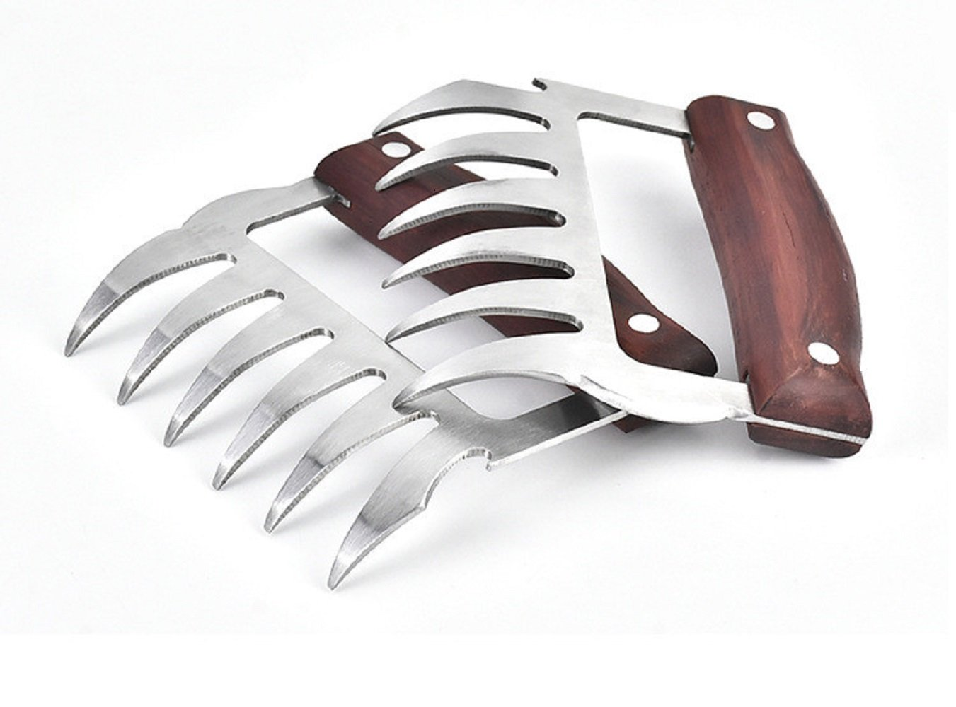Meat Claws, Plainmarsh Pulled Pork Shredder Claws Stainless Steel Bear Paw Meat Claws BBQ Meat Handler Forks for Shredding Handling & Carving Food BPA Free (Wooden Handle)
