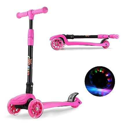 GOSFUN EU Patinete de 3 Ruedas con Diseño Scooter para Niños de 2 a 12 Años de Edad (Rosa)