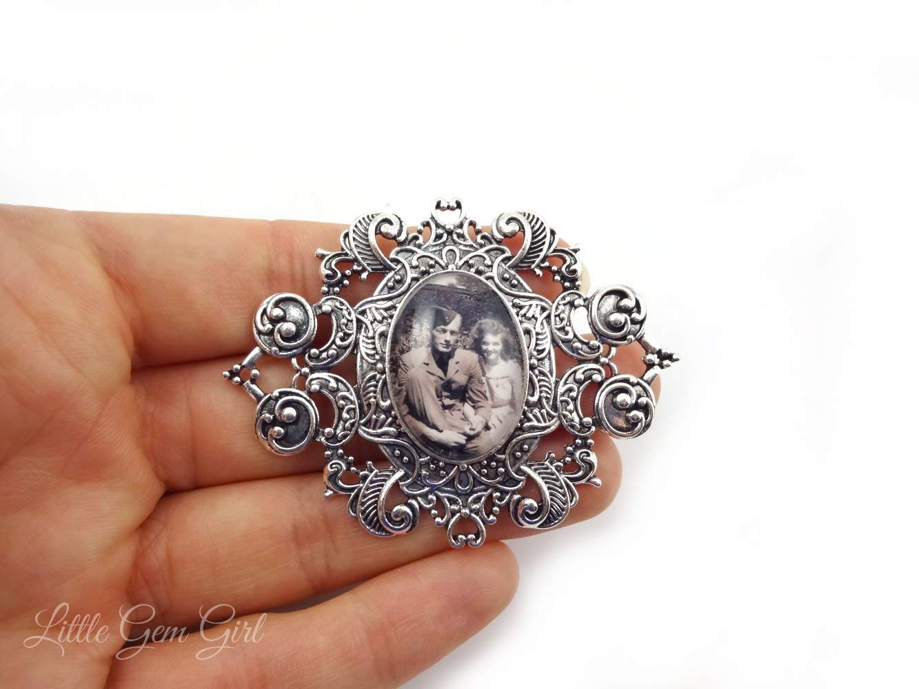 Antique Silver Boutonniere Pin Vintage Style Custom Photo Brooch Personalized with Your Picture