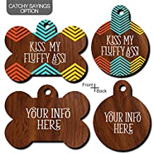 CUTU Dog Tags Personalized for Pets,No Noise Wood Style Plastic Dog Tags,Double Sides Customizable (Round-S)