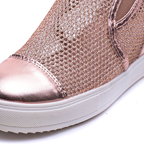 Giallo Sneakers Scarpe Donna 8601 Pelle Slippers On Zeppa Eco Traforate Slip Interna Mforshop xX7pq17