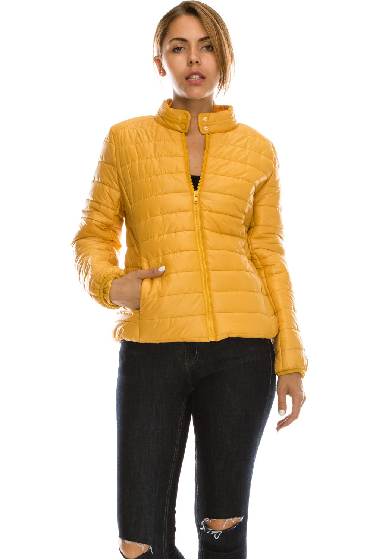 JEZEEL Daisy Women's Lightweight Solid Basic Outdoor Sports Quilted Puffer Jacket. J1(L,Mustard)