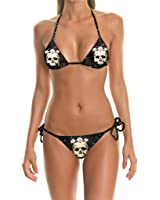 Women's 3D Print Skull Swimsuit Hot Spring Beachwear 2-Piece Bikini