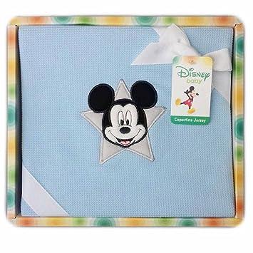 Manta Algodón Jersey Cuna Cochecito Bimbo Disney Baby mckey Cielo: Amazon.es: Bebé