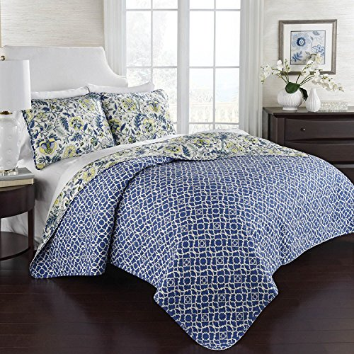 Waverly 100 Cotton 3 Piece Reversible Quilt Set 1 Quilt