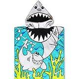 "Beach Poncho Tiger Shark Kids Beach Towel 22"" x 44"" Fast Drying Hooded Towel for Kids"