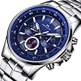Mens Stainless Steel Watches Men Luxury Waterproof Calendar Date Business Wrist Watches with Blue Dial