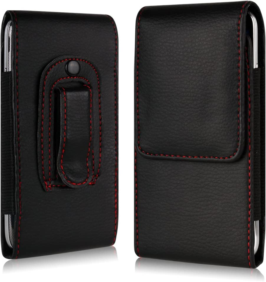 Black Tigerbox/® Leather Belt Clip Pouch Case Flip Cover Holster With Elasticated Sides And Magnetic Fastener For LG G3 Mobile Phone D855