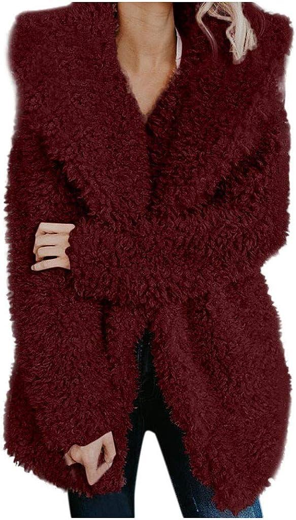 Chaqueta Fleece Warm Sweater Mujer Chaqueta Cálida Chaquetas Mujer Piel Sintética Mujer Abrigos Cremallera Invierno Cálido Solapa Manga Larga Solapa Fleece Coat Chaqueta Borrosa Parka Outwear BuyO
