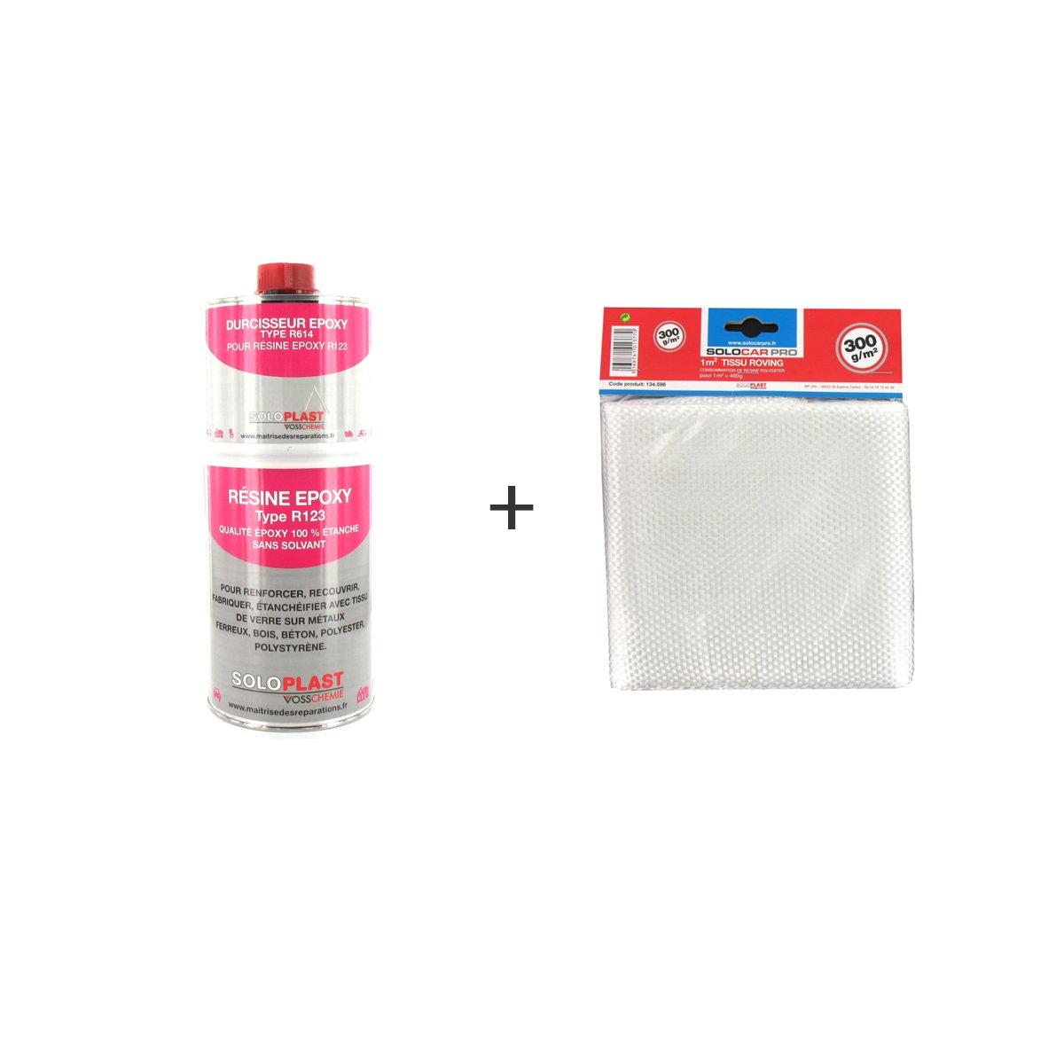 Pack ré sine epoxy type R123 Soloplast 1 Kg - Tissu de verre Soloplast Roving 300g m2