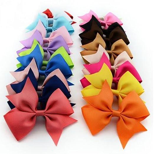 16e6921efcb25 Amazon.com  YENJO 10pcs Girls Ribbon Bow Hair Clip Kids Alligator Clips  Party Hair Accessories  Clothing