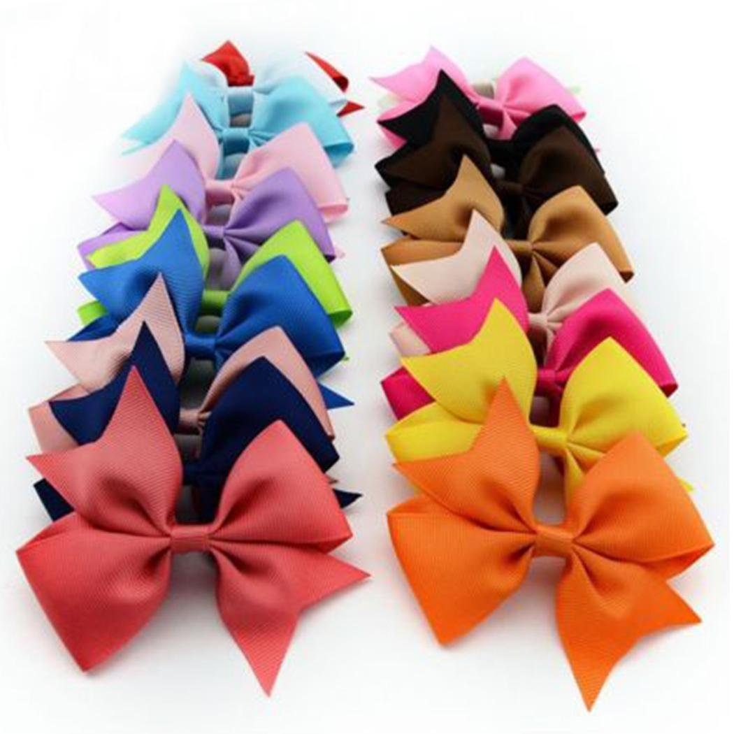 etuoji 10pcs Colorful Girls Ribbon Bow Hair Clip Kids Alligator Clips Party Hair Accessories