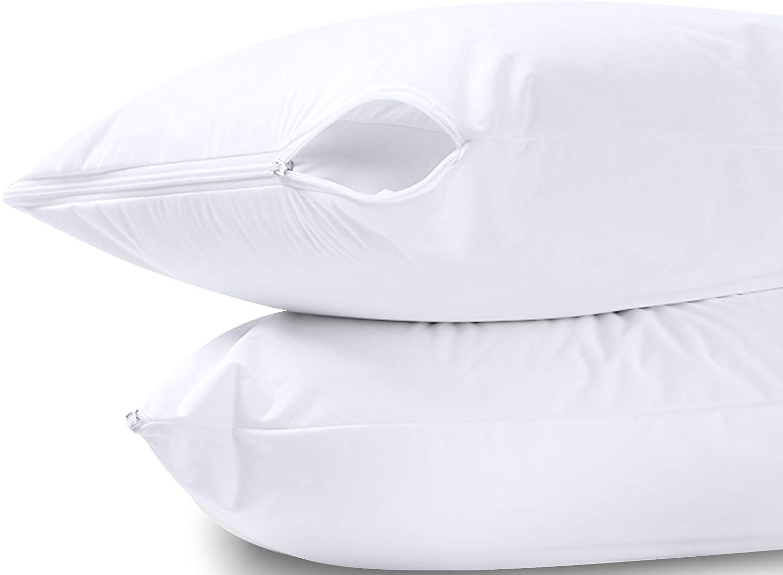 Utopia Bedding Waterproof Zippered Pillow Encasement Jersey Fabric 20 x 28 Inches (White, Queen)