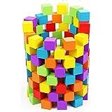 ST TS 木製 積み木 キューブ ブロック天然 原木 カラフル 子供 算数 体積 図形問題 知育 小学生 つみき 100個セット