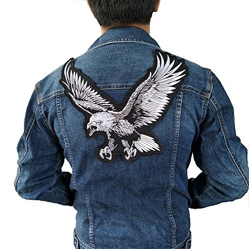 large eagle Iron On Patch Embroidered Applique Sewing Label punk biker Patches Clothes Stickers Apparel Accessories Badge (Motorcycle Apparel Wholesale)