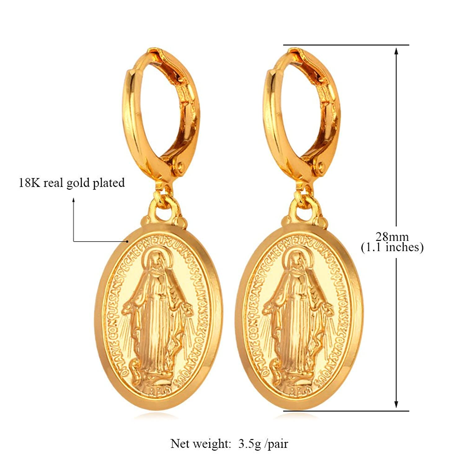 Virgin Mary Drop Earring, Gift For Women, Oval Shape, Gold/Platinum/Rose Gold Plated, Religious Jewellery Christian Earring