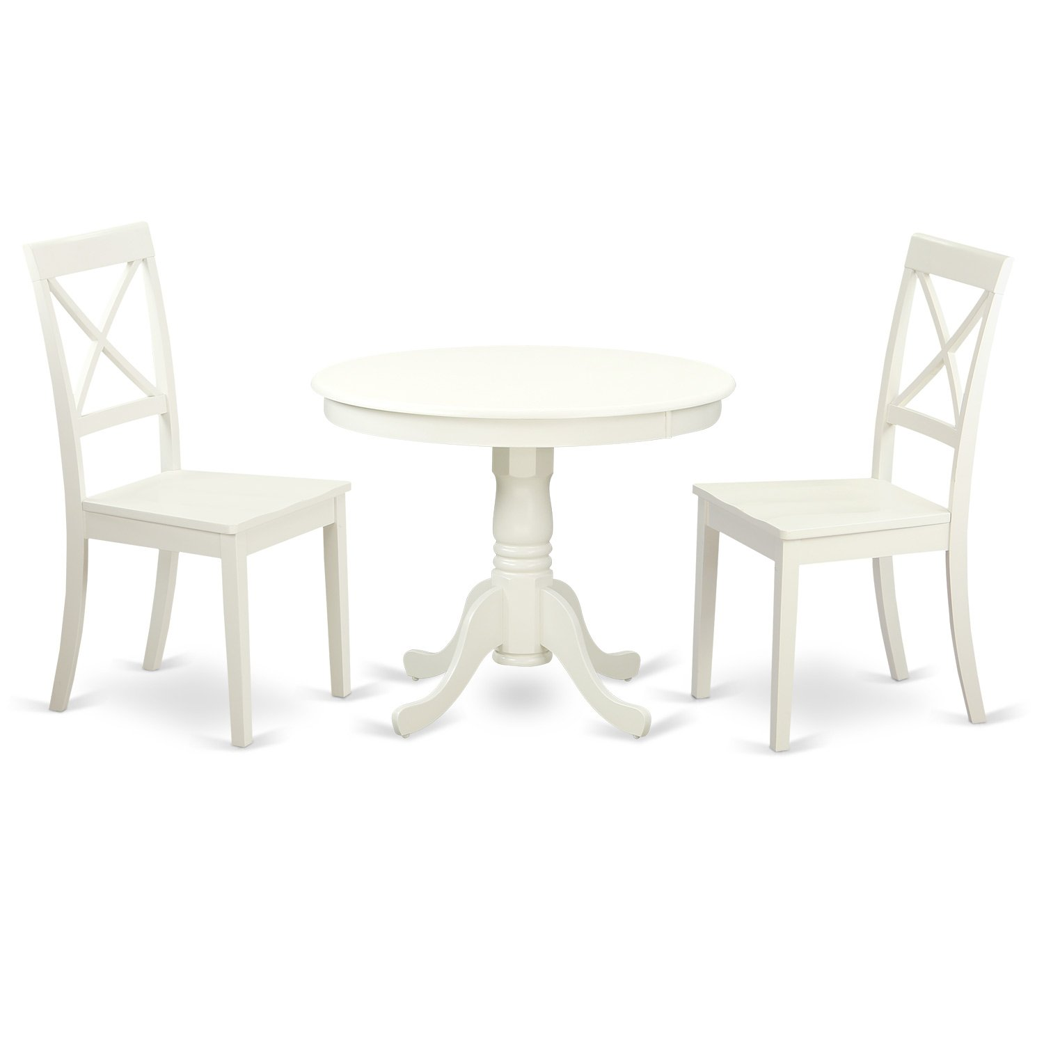 Details about 3 PC Antique Dining Room Set Round Table & 2 Solid Wood  Kitchen Chairs in White