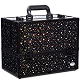 Makeup Case 6 Trays Large 14″ x 8.5″ x 11″ Train Cases Cosmetic Organizer Storage Box by Joligrace – Star Pattern