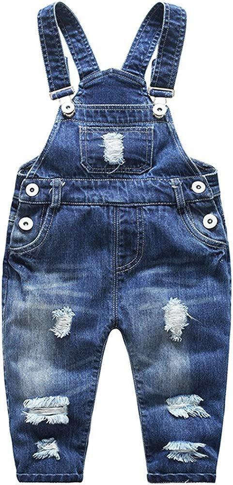 BINPAW Kids Unisex Ripped Overall Jeans