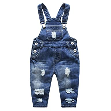 fac64fa0e2 Kidscool Baby   Little Boys girls Stone Washed Ripped Soft Denim Overalls
