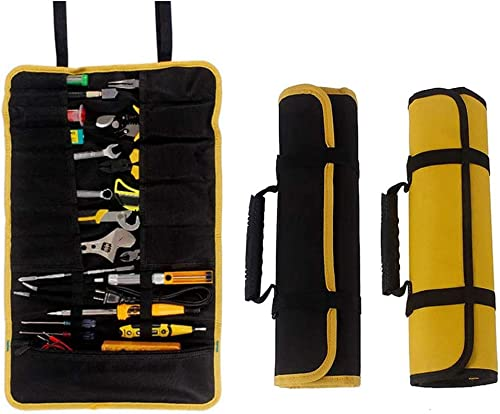 2 Pack Canvas Roll Up Tool Bags Set, Multi-Purpose Tool Pouch, Heavy Duty Hanging Tool Organizer, Wrap Roll with Zipped Compartments for Tool Storage, Wrench Organizer