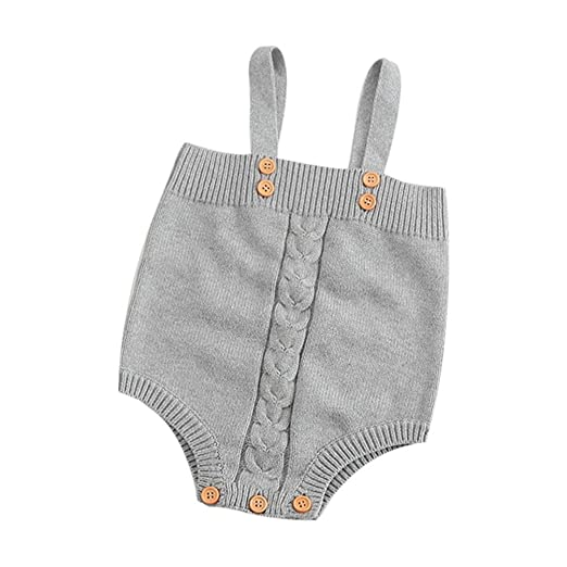 a37f3c126595 LNGRY Newborn Baby Girl Boy Sleeveless Romper Knitted Jumpsuit Overalls  Clothes (0-3 Months