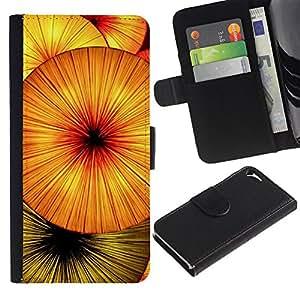 LASTONE PHONE CASE / Lujo Billetera de Cuero Caso del tirón Titular de la tarjeta Flip Carcasa Funda para Apple Iphone 5 / 5S / Fruit Abstract Kiwi Umbrella