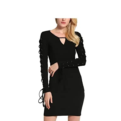 39265e7cad98 Kebinai Womens Sexy V Neck Long Sleeve Hollow Out Bandage Slim Bodycon Dress  BlackSmall