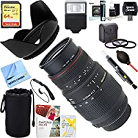 Sigma (5A8306) 70-300mm f/4-5.6 APO DG Macro Lens for Nikon AF-D + 64GB Ultimate Filter & Flash Photography Bundle