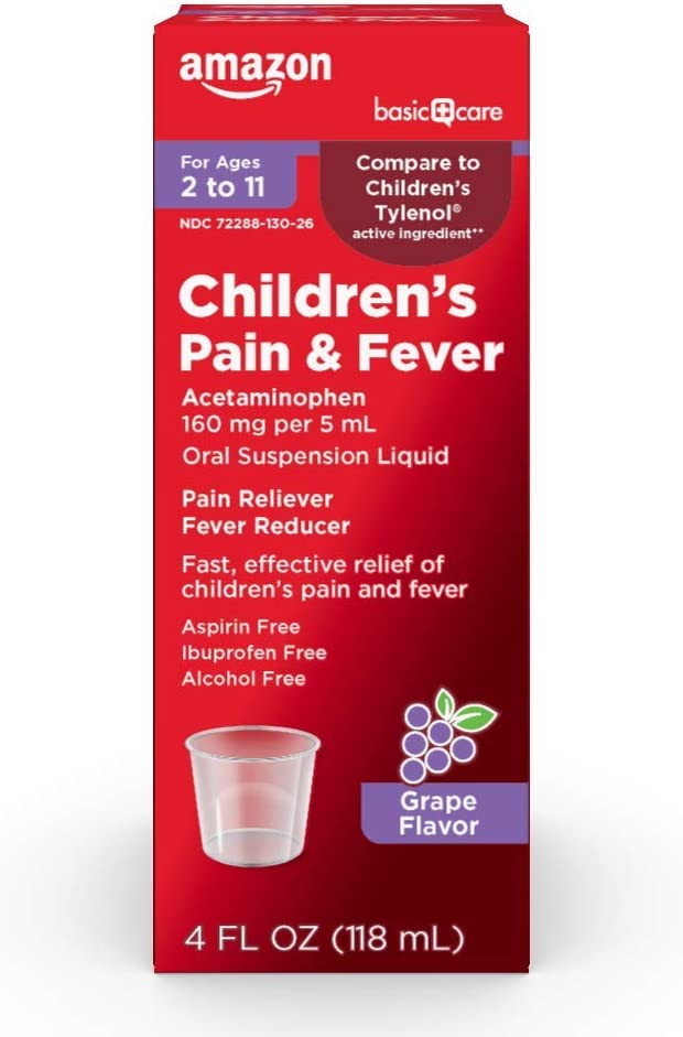 Basic Care Children's Pain & Fever Oral Suspension Acetaminophen 160 mg per 5 mL, Grape Flavor, Fast, Effective Pain Reliever and Fever Reducer for Children, 4 Fl Oz: Health & Personal Care
