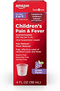Basic Care Children's Pain & Fever Oral Suspension Acetaminophen 160 mg per 5 mL, Grape Flavor, Fast, Effective Pain Reliever and Fever Reducer for Children, 4 Fluid Ounces