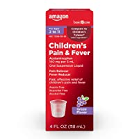 Amazon Basic Care Children's Pain & Fever Oral Suspension Acetaminophen 160 mg per 5 mL, Grape Flavor, Fast, Effective Pain Reliever and Fever Reducer for Children, 4 Fluid Ounces