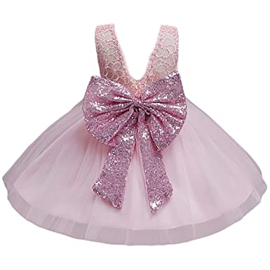 ee2199b22c JiaDuo Baby Girl Lace Mesh Tutu Dress Sequin Bow Toddler Princess Gown Pink  100