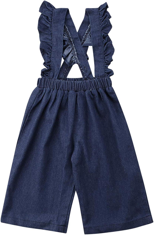 Evan Fordd Kids Baby Girls Denim Overalls Ruffle Strap Romper Polka Dot Denim Jumpsuit Pants