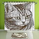 Waterproof Shower Curtain and Bath Rug Set Cat Portrait of A Kitty Domestic Animal Hipster Best Company Fluffy Pet Graphic Art...