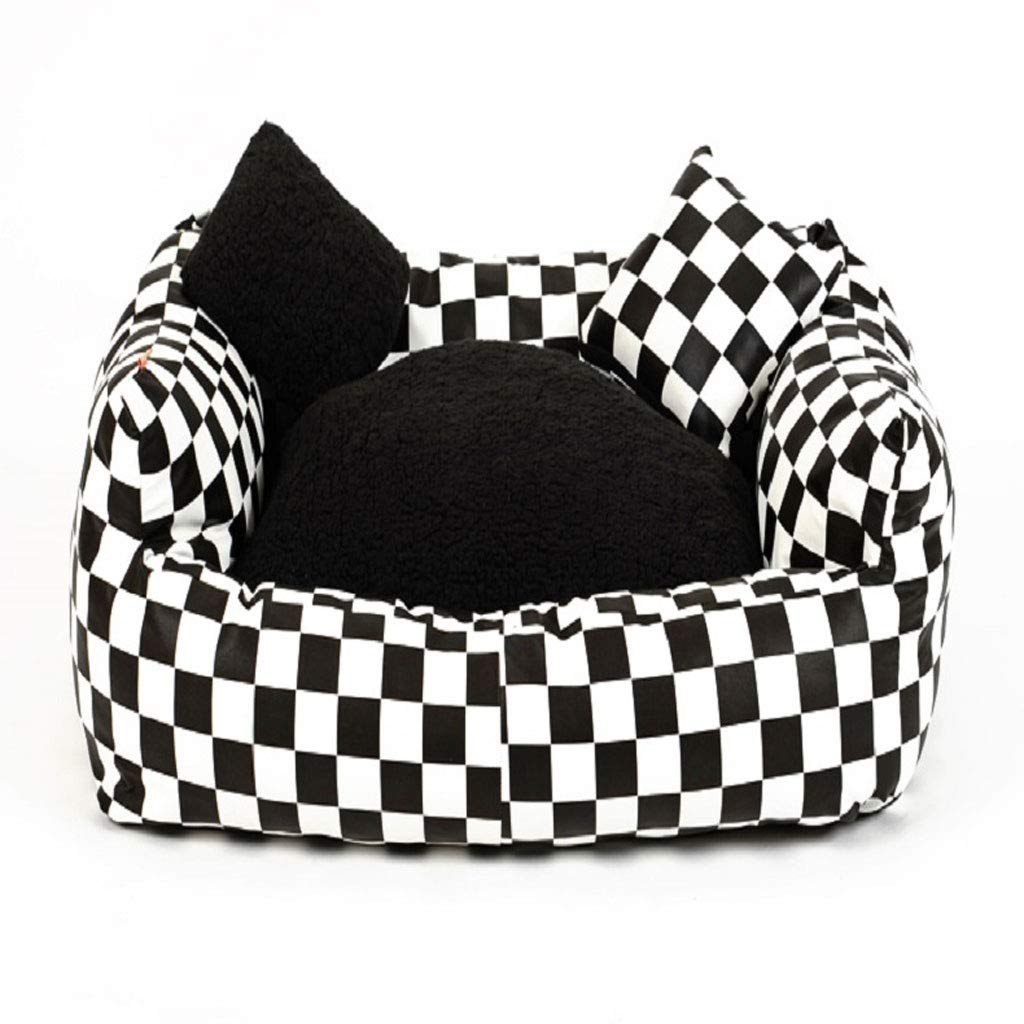 Black and White 55CM Black and White 55CM YangMi pet Bed- Kennel Removable Cat Litter Dog Mat Pet Nest Dog Supplies Winter (color   Black and White, Size   55CM)