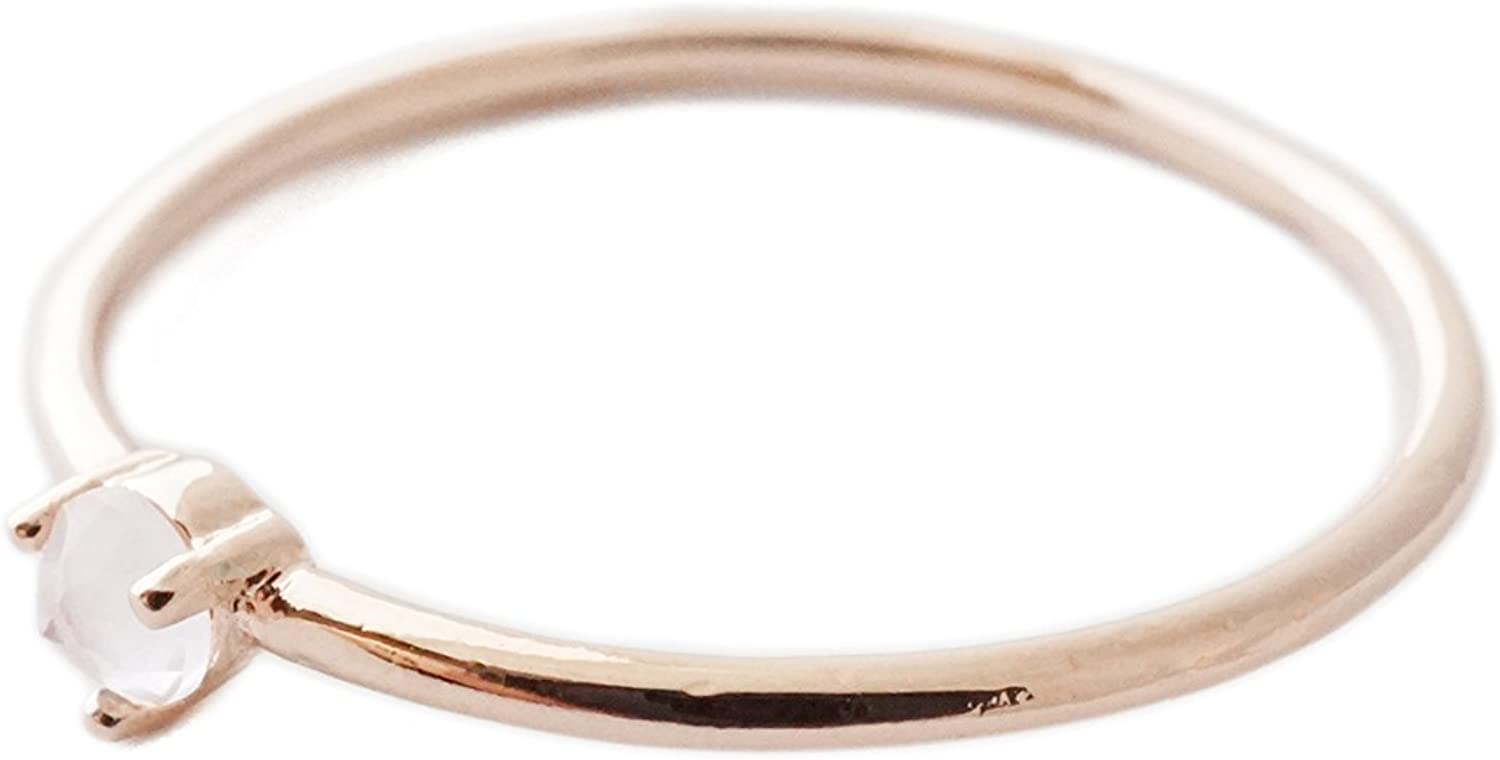 or Silver HONEYCAT Rose Quartz Crystal Point Ring in Gold Minimalist Rose Gold Delicate Jewelry