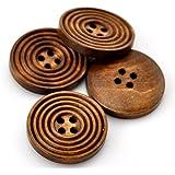 Leisial 50 Stück Holz Knöpfe Kleidung Deko DIY Basteln Nähen