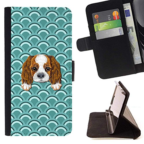 [ Cavalier King Charles Spaniel] Embroidered Cute Dog Puppy Leather Wallet Case for LG V30 [ Geometric Arch Pattern ]