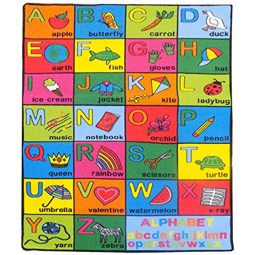 Mybecca Large Classroom and Nursery Rugs for Kids Alphabet Chart Area Rug 3 X 5 1 (Alphabet Activity Classroom Carpets)