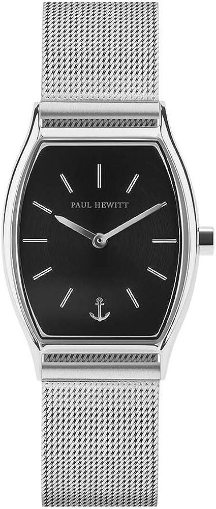 PAUL HEWITT Reloj de muñeca para Mujer en Acero Inoxidable Modern Edge Black Sunray - Reloj de Pulsera de Acero Inoxidable en Plata, Reloj de muñeca para Mujer con Esfera Negra