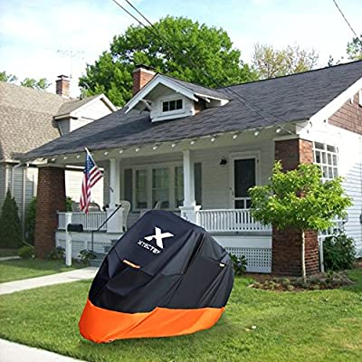XYZCTEM Motorcycle Cover – All Season Waterproof Outdoor Protection – Fit up to 116 inch Tour Bikes, Choppers and Cruisers – Protect Against Dust, Debris, Rain and Weather(XXXL,Black& Orange): Automotive