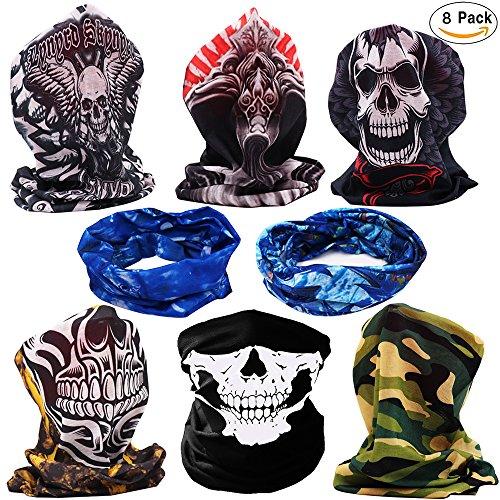 Half Face Mask Skull - DOLAIMI 8 Pack Skull Halloween Costumes Seamless Headband Bandana Neck Gaiter Skeleton Scarf Outdoor Wear Motorcycle Snowboard Biking Hiking Ski Multi- Functional (Snow Head)