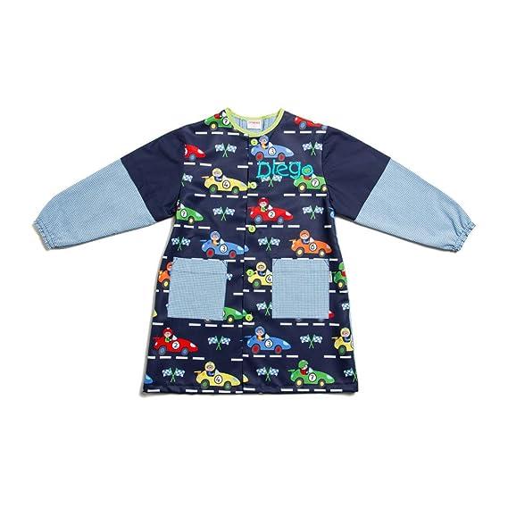 Dyneke Bata escolar botón azul Carreras (personalización opcional gratuita con nombre bordado) (Talla 6): Amazon.es: Ropa y accesorios
