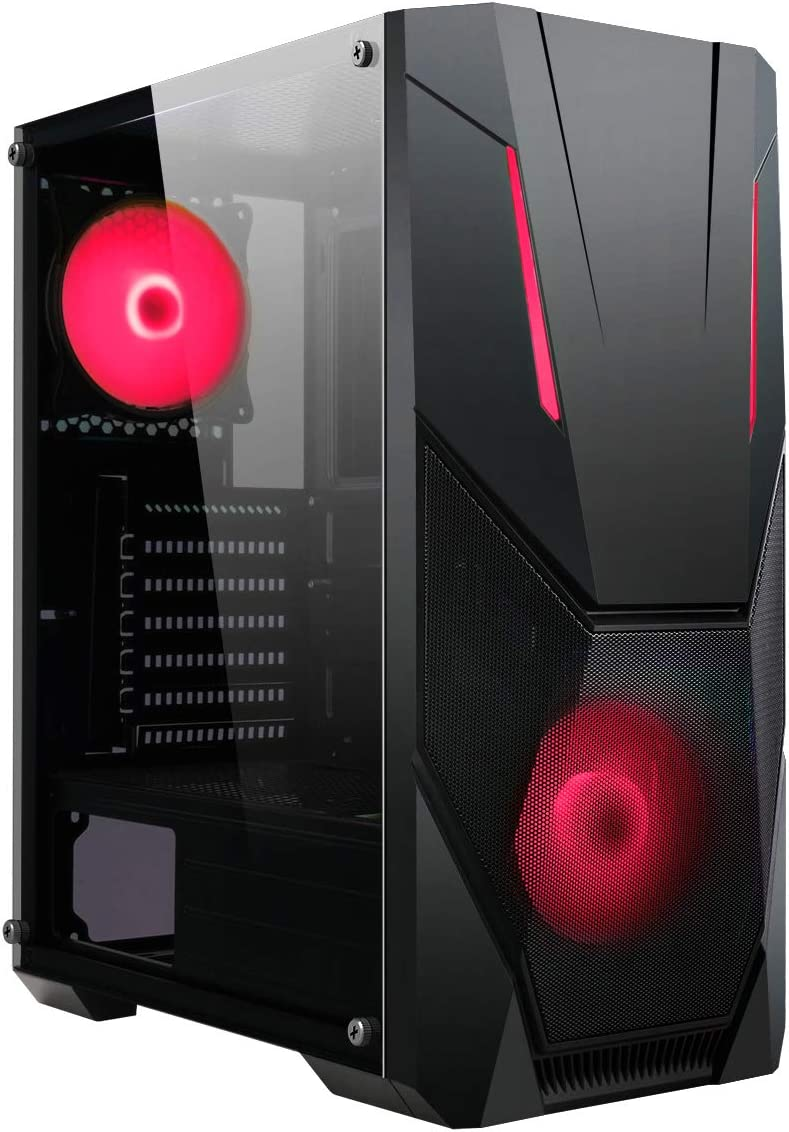 2 x ARGB LED Strips Included CiT Master ARGB PC Gaming Case 8 Fan Support ATX Black 2 x 120mm ARGB Fans Included 3 Pin AURA Sync Water-Cooling Ready