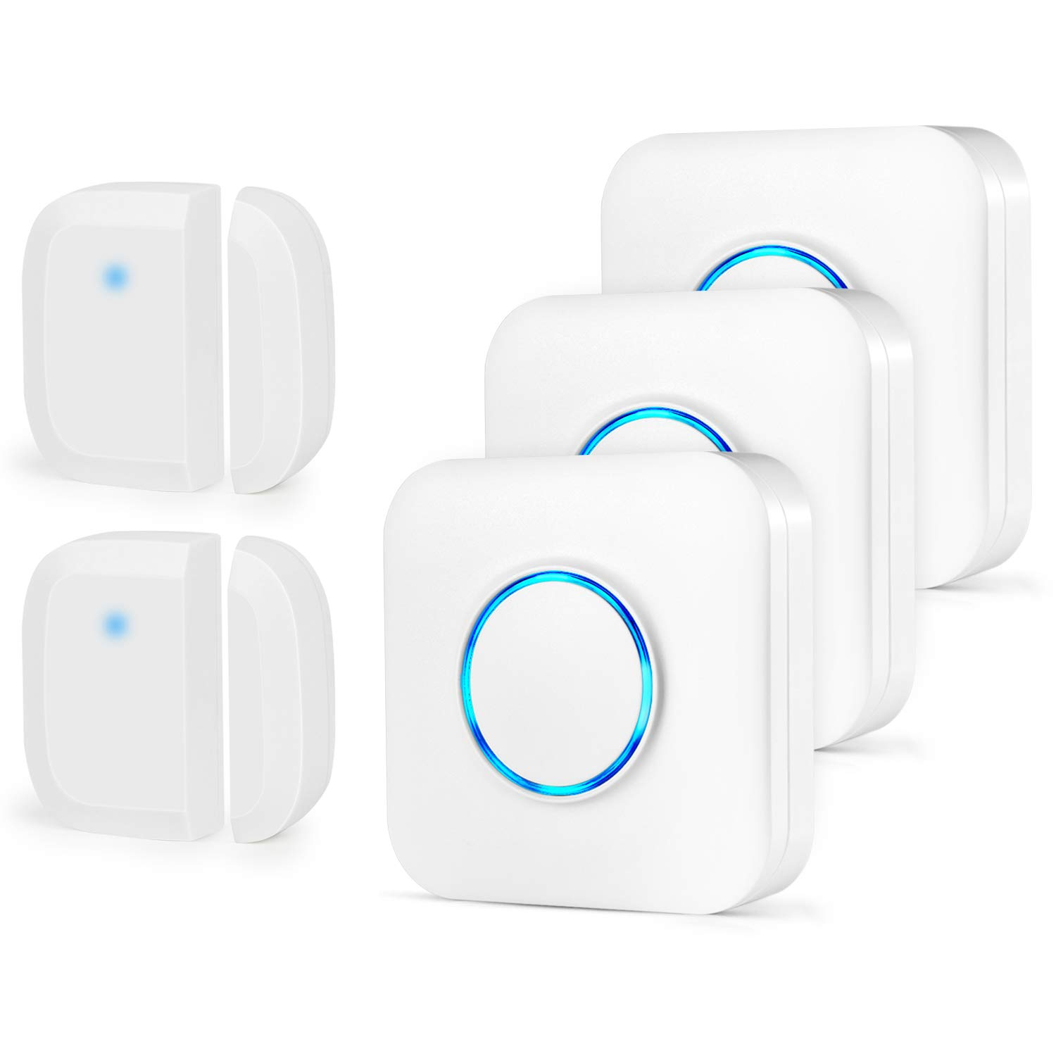 Bistee Wireless Doorbell Door Sensor Chime Operating Range at 600 Feet with 52 Ringtones for Home Windows (2 Door Sensors + 3 Receivers)