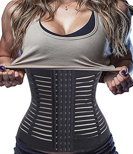 Invisable Body Shaper Waist Trainer Cincher Long Torso Yoga Sport Corset (L, Black)