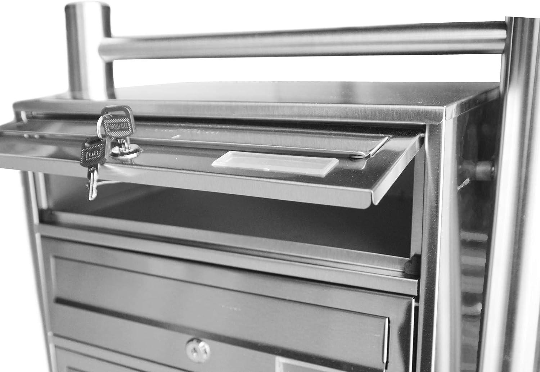 Seculine 25 Inkl Rostfreier Edelstahl 2 Schl/üsseln 13724 DRULINE Standbriefkasten Edelstahl Stand-Briefkastenanlage Postkasten Letterbox Mailbox mit 8 F/ächer 120x90x27 cm Silber Briefkasten mit Zeitungsbox und Namensschild A4 Einwurf-Format