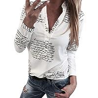 Donna Moda Camicetta,POLPqeD Primavera Estiva Lettere Stampa Tops V Neck Pulsante Maniche Lunghe T-Shirt Casuale Poliestere Sottile Camicie …